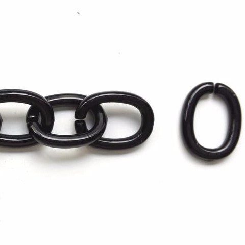 Plastic oval links (Black)