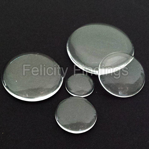 Clear glass cabochon - Round