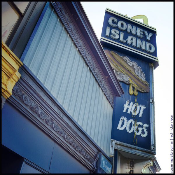 Vintage sign for Coney Island Hot Dogs in Worcester, Massachusetts. Photo by Susan Mara Bregman | Red Nickel Neon