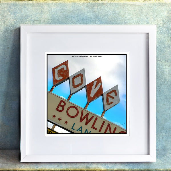 Framed photo of Cove Bowling in Great Barrington from Susan Mara Bregman Red Nickel Neon
