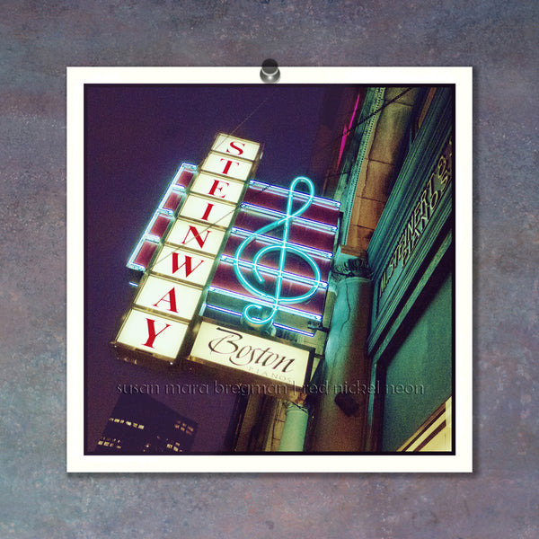 Boston Steinway Piano G-Clef Neon Sign Photo