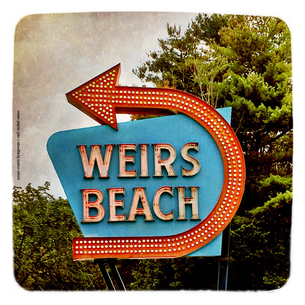 Square Photograph of Retro Weirs Beach Sign