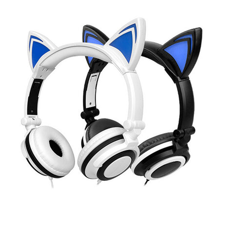 Hot Foldable Flashing Glowing Cat Ear Headphones Gaming Mikrafon Headset with LED Light For Smartphone Laptop fone de ouvido