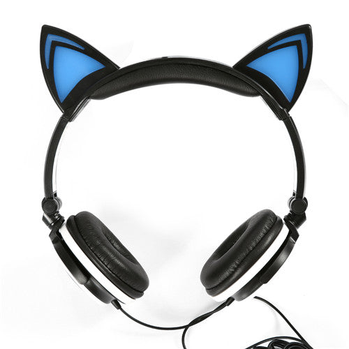 Hot Foldable Flashing Glowing Cat Ear Headphones Gaming with LED Light