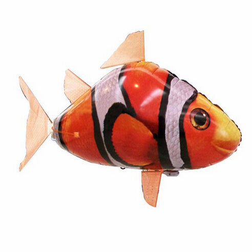 Hot Funny Air Flying Toy Fish Shaped Aluminum Balloon Configuration Remote Control Children's Day Gift Airswimmer Clown Fish