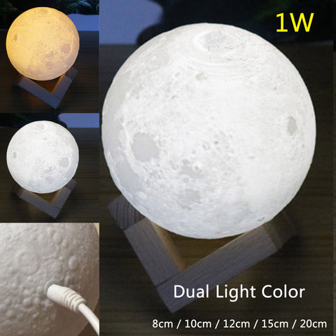 Dual Light Color Moonlight Lunar Touch Light - Moon Nightlight for Atmosphere
