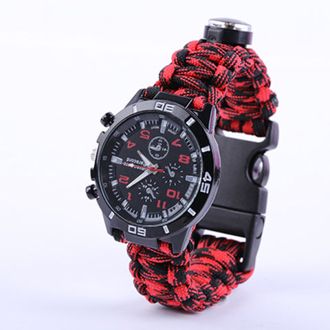 EDC Tactical Camouflage Outdoor survival watch bracelet compass Rescue Rope paracord Camping equipment multi Tools