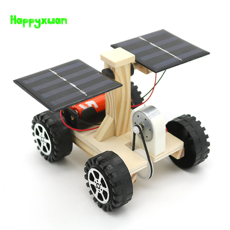 Happyxuan Wooden Lunar Rover Model Students Diy Science Materials Kits Solar Battery Hybrid Car Kids Fun Science Experiments Toy