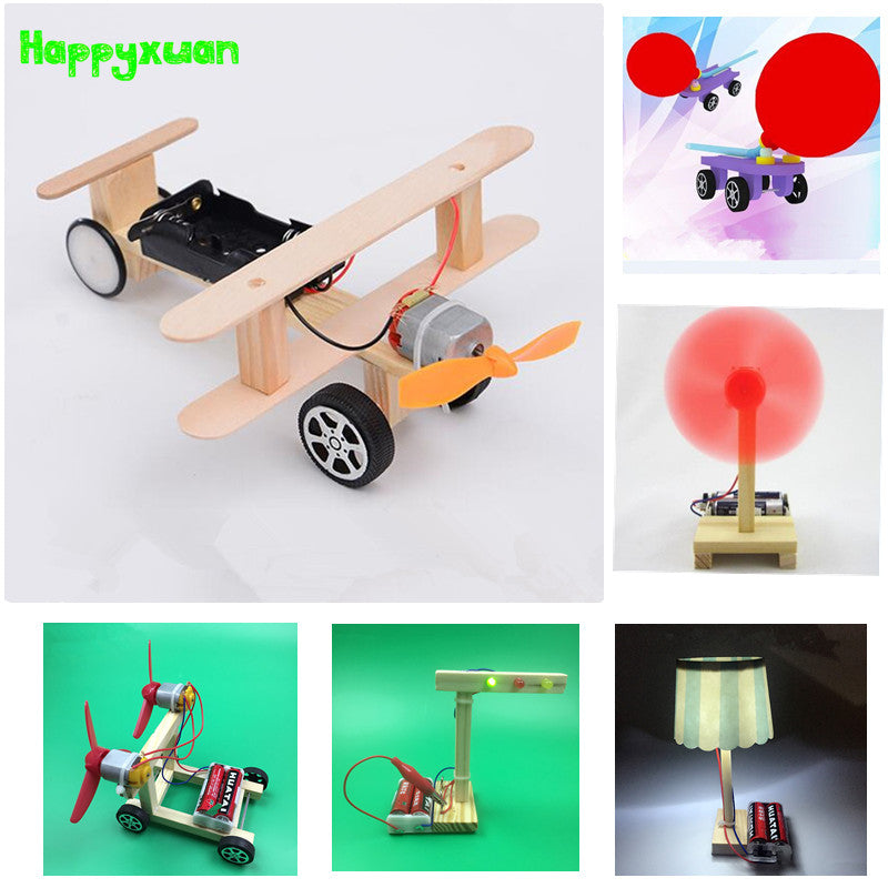 Happyxuan 6 sets/lot DIY Physical Science Experiment Toy Children Airplane Car Wood Assemble Model Kit Creative Educational Gift