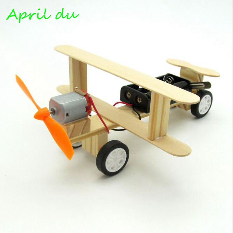 April Du DIY Wind Power Glide Plane Model Kit Wood Kids Physical Science Experiments Toy Preschool Educational