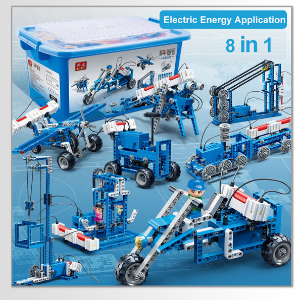 DIY Electric-Powered Vehicle & Robot Building Blocks Toy for Learning