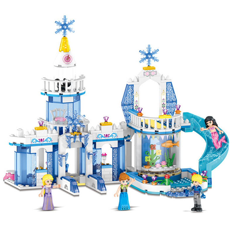 Kids Favorite!! 344pcs 2 In 1 Snow Princess Elsa Ice Castle Princess Anna Legoings Model Building Blocks Kit Toys Gifts