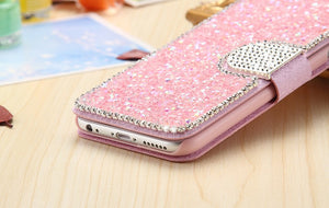 Bling Diamond Flip Leather Cover Stand Card Slot Magnetic Buckle Case - Elegant Case