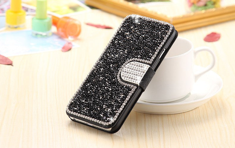 Bling Diamond Flip Leather Cover Stand Card Slot Magnetic Buckle Case - Best iPhone Cases