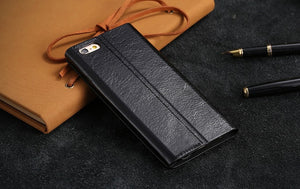 Real Genuine Flip Leather Stand Case For iPhone - Elegant Case