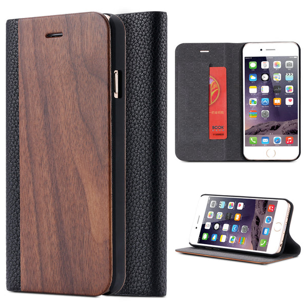 Bamboo Wooden Flip Leather Case For iPhone - Elegant Case