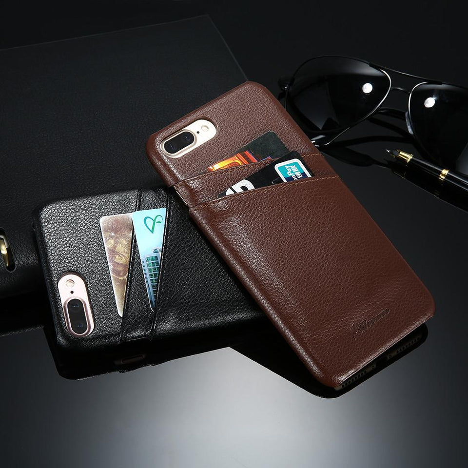 Genuine Leather Case With Card Slots For iPhone - Elegant Case