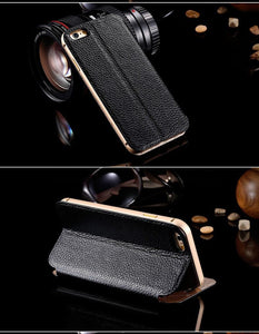 Genuine Leather Flip Case For Apple iPhone - Elegant Case