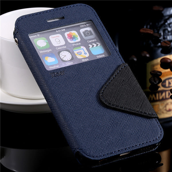 Smart Display Leather Case For Apple iPhone With Card Holder - Best iPhone Cases