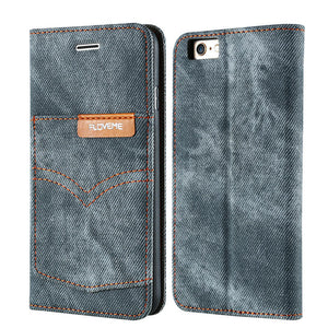 Classic Jeans Cowboy Pocket Cloth Flip Stand Cover Case - Elegant Case