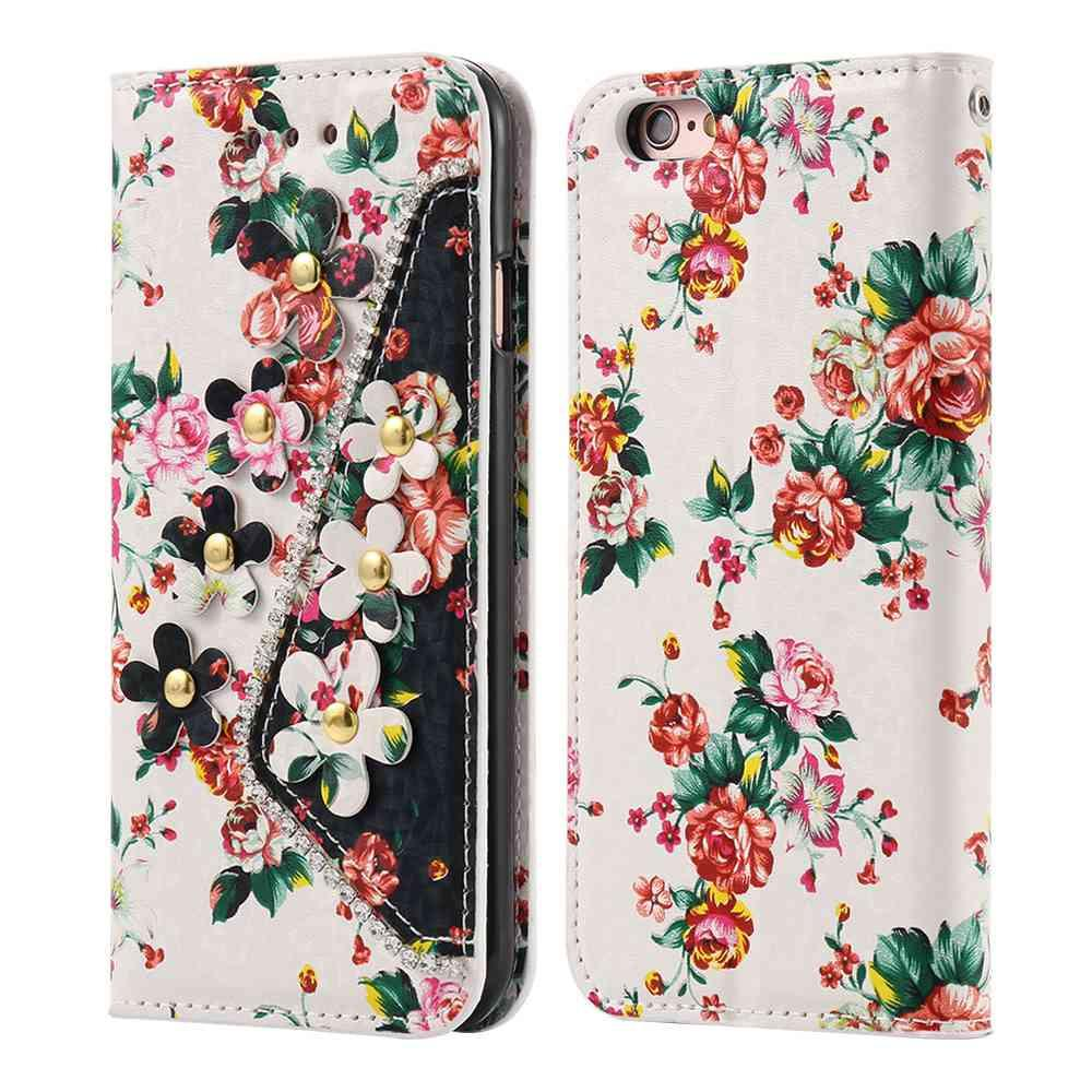 Colorful Floral Leather TPU Diamond Phone Cover - Best iPhone Cases