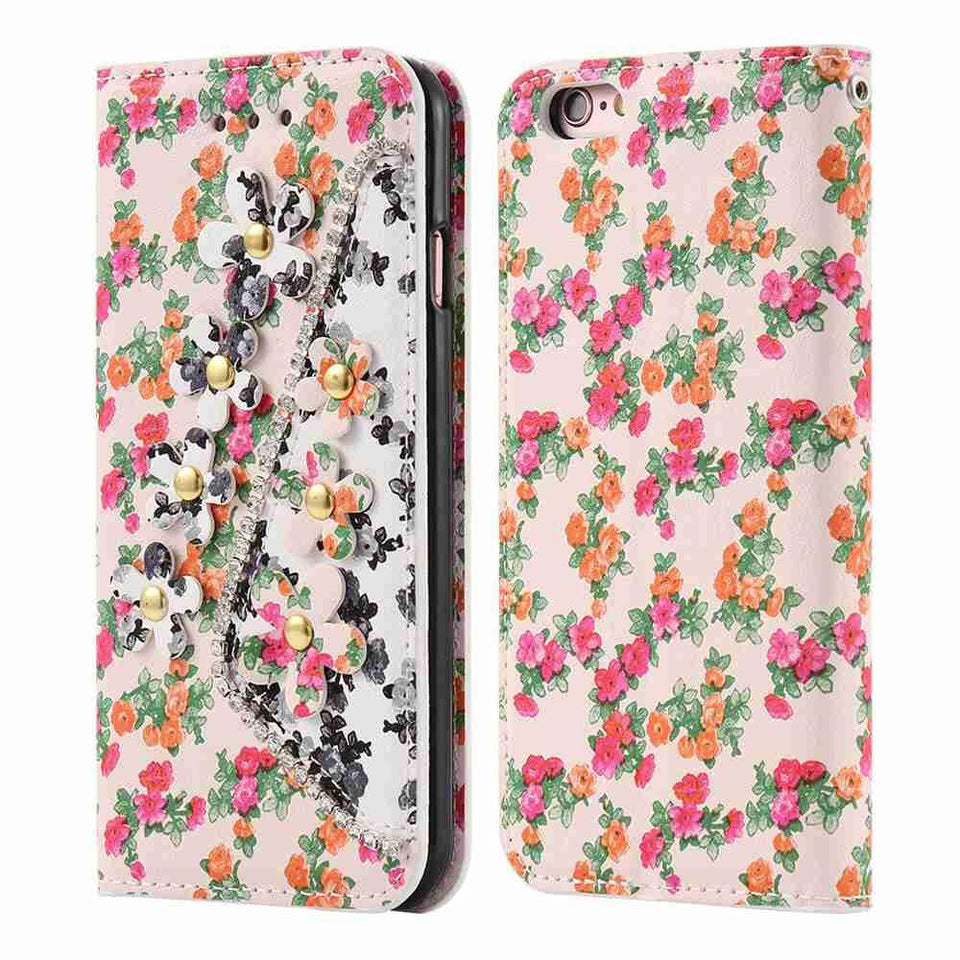 Colorful Floral Leather TPU Diamond Phone Cover - Elegant Case