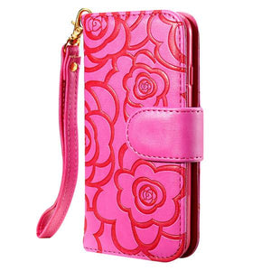 Deluxe Embossing Flower Flip Leather Case For iPhone - Elegant Case