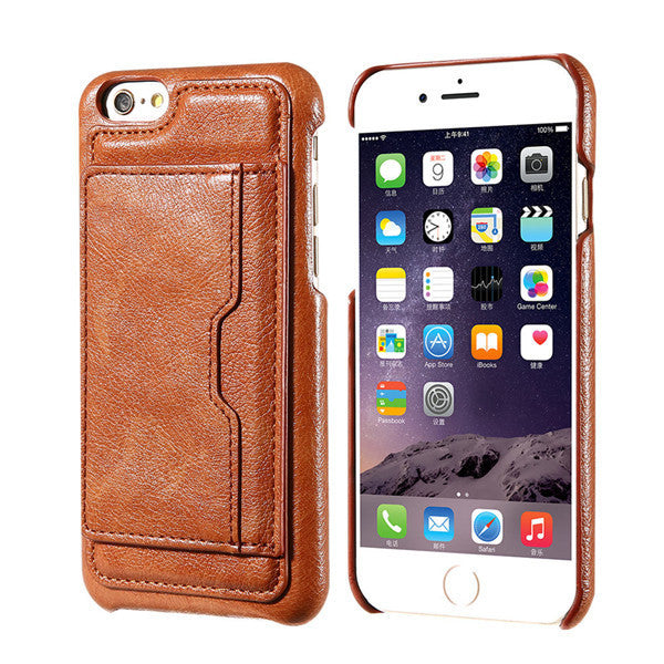 Business Wallet Leather Back Cover For iPhone - Elegant Case