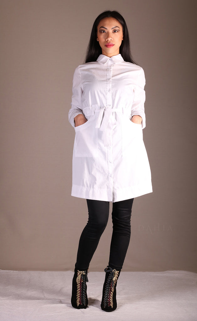 Chemise longue blanche hijab