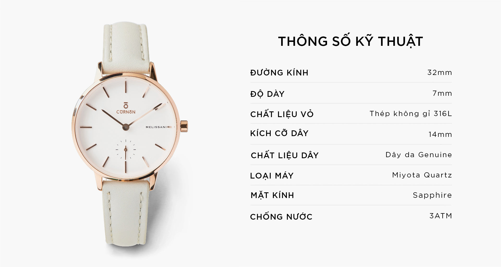 Đồng Hồ Thời Trang Melissani Rosegold - Ice - Curnon Watch