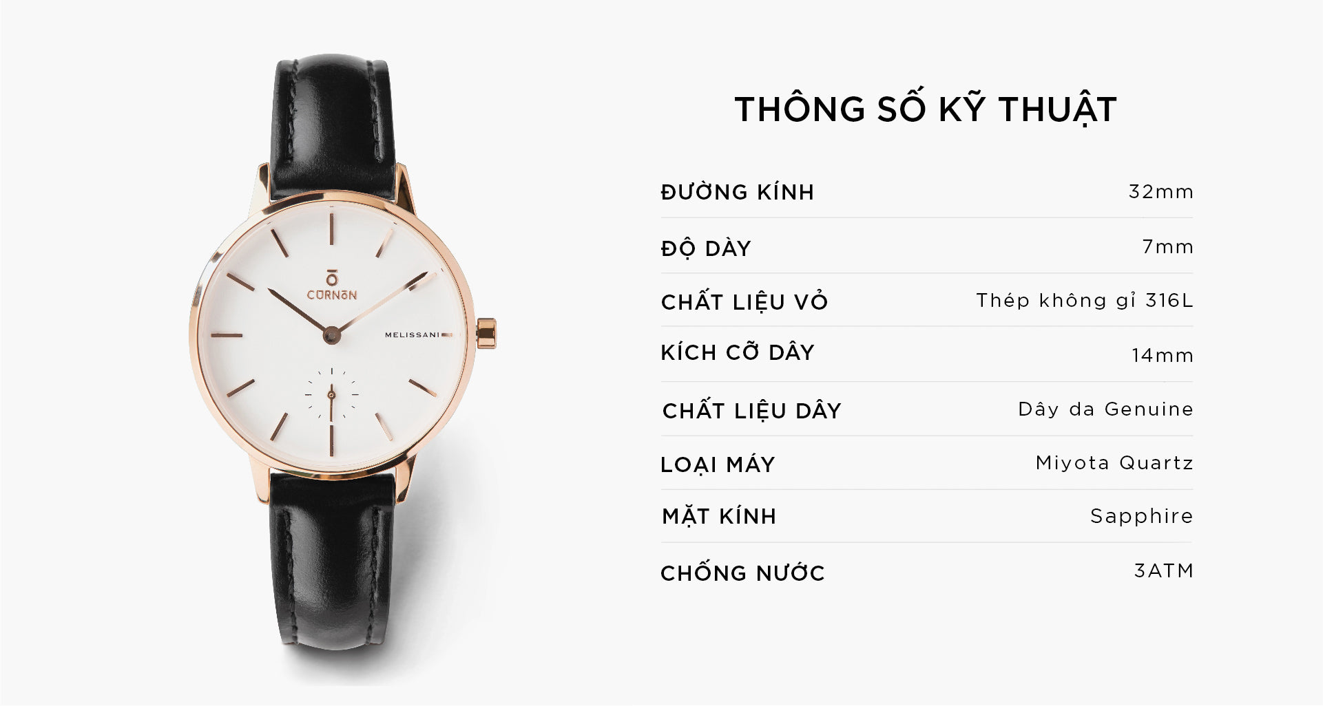 Đồng hồ thời trang Melissani Rosegold - Abyss - Curnon Watch