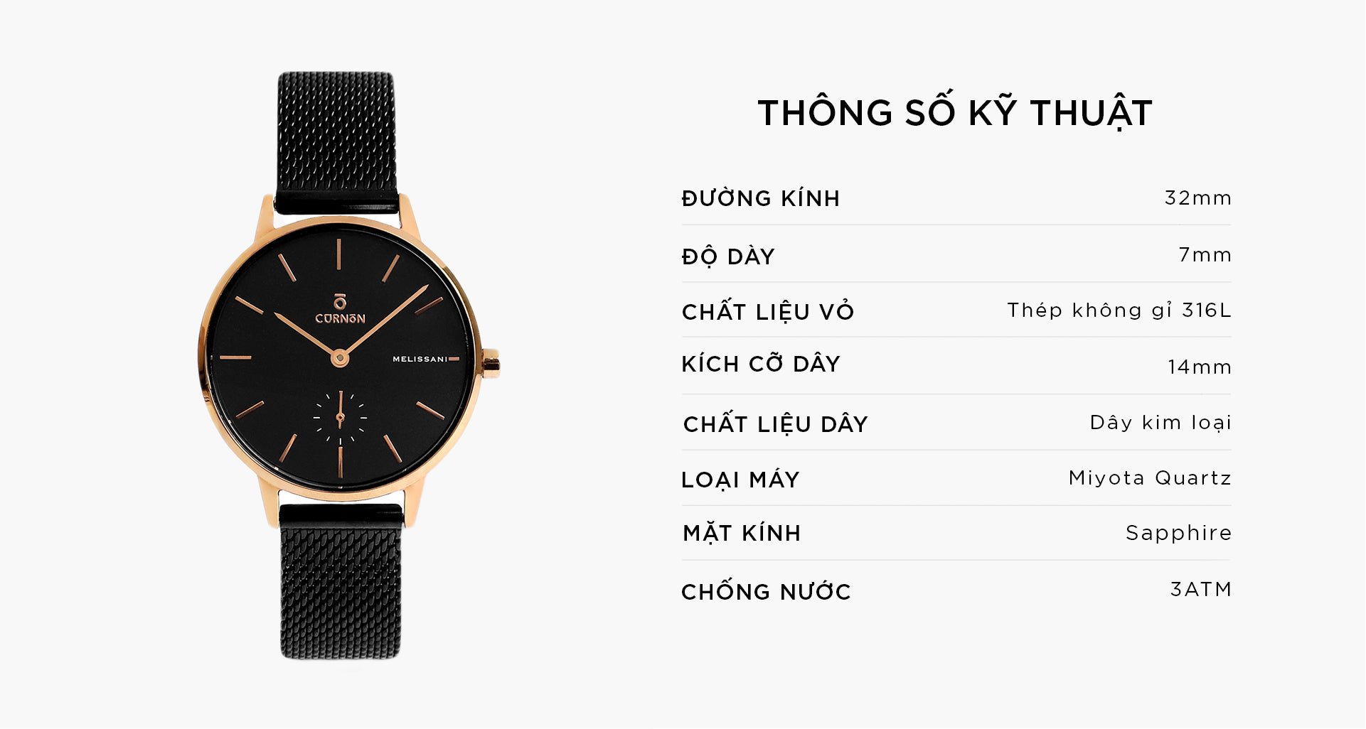 Đồng Hồ Thời Trang Melissani Black Rosegold - Space - Curnon Watch