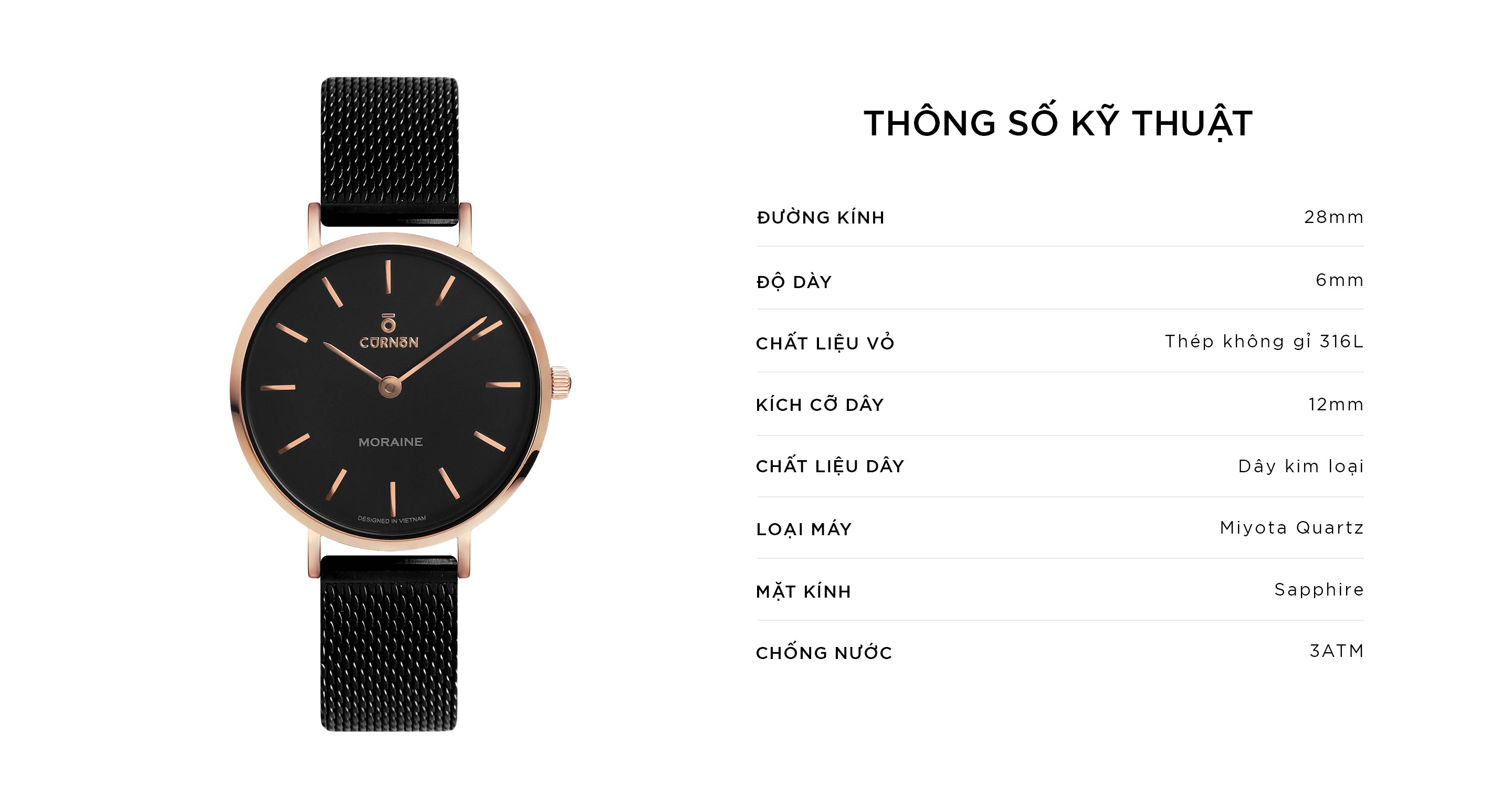 Đồng Hồ Thời Trang Moraine Lace - Curnon Watch