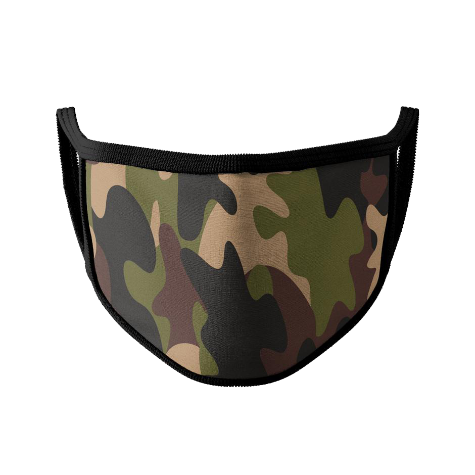 Camo w/ Black Trim Face Mask