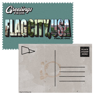 """Greetings From Flag City USA"" Postcard"