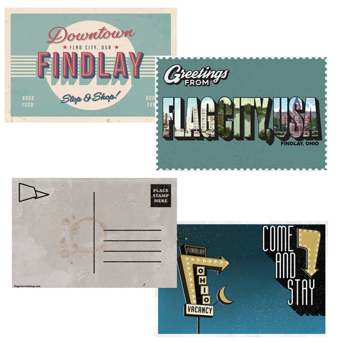 Flag City Postcard Complete Set Of 3 Postcards
