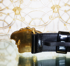 NEW VERSACE GOLD CRYSTAL EMBELLISHED 3D MEDUSA BLACK PATENT LEATHER BELT 95/38