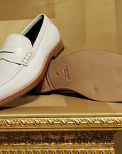 S/S 2012 look #10 NEW VERSACE BEIGE LEATHER LOAFER SHOES 44 - 11