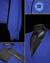NEW VERSACE BLUE 100% WOOL CARDIGAN SWEATER 50 - 40