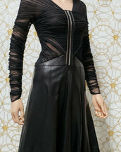 NEW VERSACE BLACK TULLE and LEATHER DRESS 38 - 2