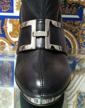 F/2007 L# 10 VERSACE VINTAGE BLACK STRETCH LEATHER PLATFORM BOOTS 38.5 - 8.5