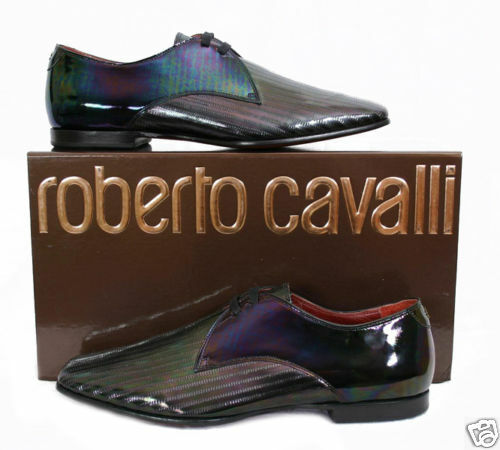 $965 NEW ROBERTO CAVALLI BLACK PATENT LEATHER SHOES 42.5 - 9.5