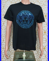NEW VERSACE BLACK T-SHIRT BEADED with BLUE SEQUIN   size L