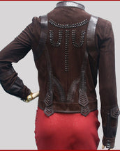 $3,930 NEW FENDI BROWN SUEDE LEATHER JACKET 40 - 4