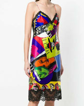 VERSACE Spring 2018 VOGUE PRINT LACE CAMISOL SILK MIDI DRESS 38 - 2