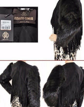 $6255 NEW ROBERTO CAVALLI BLACK FUR & LEATHER JACKET  40 - 6