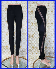 NEW VERSACE BLACK STRETCHYJEANS w/LACE size 25