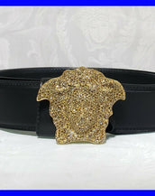 SOLD OUT!!! VERSACE CRYSTAL 3D MEDUSA BLACK LEATHER BELT 90/36