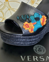 NEW VERSACE BLACK LEATHER and FLORAL EMBROIDERY WEDGE SANDALS  40 - 10