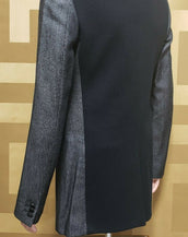 NEW S/S11 LOOK #7 VERSACE GRAY COAT JACKET with LEATHER COLLAR 48 - 38
